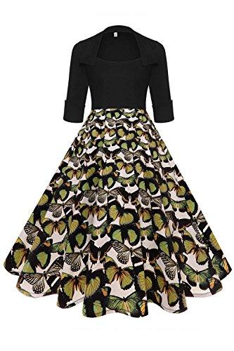 Axoe Damen 50er Jahre Kleider Rockabilly mit ärmel Freizeitkleid Schmetterling Mutter Gr.38