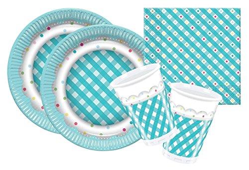 Procos 10105483 - Set di accessori per feste, motivo: quadretti turchesi, misura S