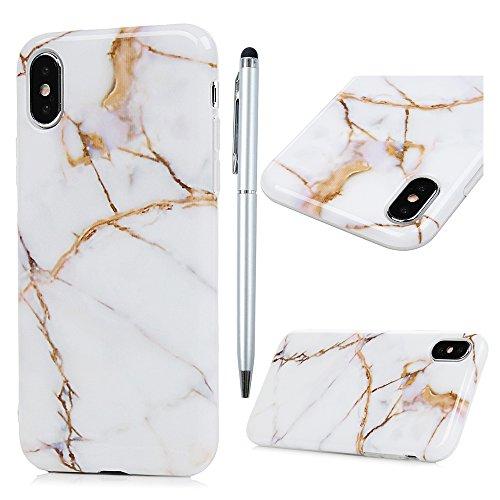 Badalink Hülle für iPhone X Lila+Rot Marmor Muster TPU Case Cover Ultraslim Handyhülle Schutzhülle Silikon Bumper Schutz Tasche Schale Antikratz Backcover mit Eingabestifte Gelb+Weiß