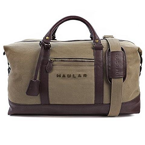 Reisetasche, Haular - Weekender Handgepäck Travelbag (Messing Verzierung) - Canvas (Grün)