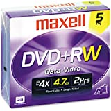 Dvd+rw Discs, 4.7gb, 4x, W/jewel Cases, Silver, 5/pack