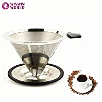 GENERIC Metallic : 2 pcs 4 Cups Best Seller Novelty New Style Paperless Reusable Washable Permanent Stainless Steel Pour over Micro-Filter WW-FE073