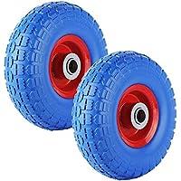 miafamily PU–Goma ruedas ruedas Rueda de carretilla carretilla rueda antipinchazos para 255X 74mm PU en Llanta de acero negro 3.50–4(carga máxima 100kg
