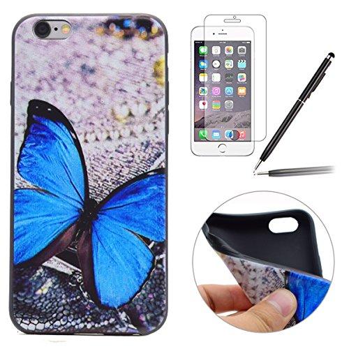 Felfy Hülle für iPhone 6S Plus,iPhone 6S Plus Case Crystal Hülle Klare Ultradünne Silikon Gel Schutzhülle Durchsichtig Muster Kristall Transparent TPU Silikon Schutz Handy Hülle Case Tasche Etui Bumpe Blau Schmetterling Tasche