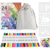 Zacro 24 Pennarelli per Tessili e Tessuto Pennarelli Non Tossici, Permanent Art Mark Fabric Pen Tip Child Safe per Neonati, Scarpe, Borse