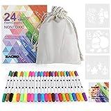 Zacro 24 Couleur Marqueurs Textile et Tissu Feutres Non-Toxiques, Double Tête de Stylo,Marque...