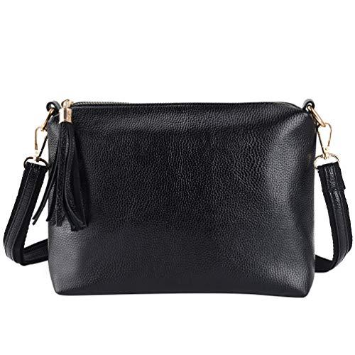 Vbiger Umhängetasche Damen Klein PU Leder Tasche Damen Schultertasche Kleine Schwarz (Schwarz1) (Kleine Taschen)