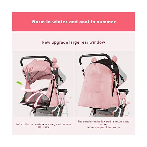 JIAX Baby Stroller, Foldable Pram Carriage With 5-Point Harness, Convenience Stroller, Lightweight Stroller With Aluminum Frame, Extra Large Storage Basket-Infant Stroller For Travel And More JIAX ✢FULL CANOPY DESIGN: Light rain proof, 300D / 600D Oxford fabric is skin-friendly and breathable, soft and comfortable, strong and durable, universal in four seasons in winter, warm and cool in summer, new upgrade, large rear window ✢ROLL UP THE REAR CURTAIN IN SPRING AND SUMMER: more airy ✢THE REAR CURTAIN CAN BE LOWERED IN AUTUMN AND WINTER: more windproof and warm, can sit and lay for 0 ~ 3 years old 2