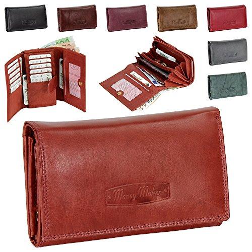 Ledershop24 Damen Leder Geldbörse Damen Portemonnaie Damen Geldbeutel - Lang versch. Farben - Geschenkset + exklusiven Schlüsselanhänger