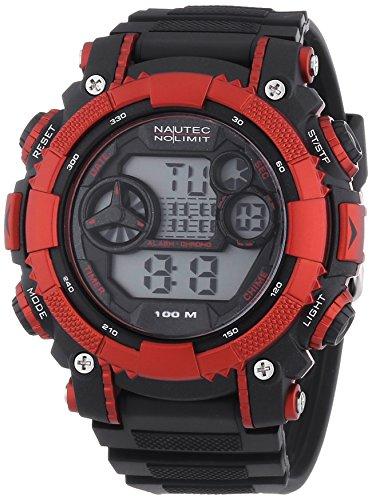 Nautec No Limit Herren-Armbanduhr XL Akula Digital Quarz AK QZ-D/PCBKPCRDBK-RD