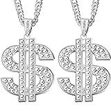 Tatuo 2 Stück Versilberte Kette mit Dollarzeichen Anhänger Halskette für Männer, Hip Hop Dollar Halskette