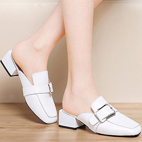 ZYUSHIZ Baotou Hausschuhe Freizeit Gürtelschlaufe quadratischer Kopf, mit kühlen, Fett mit Hausschuhe Outdoor Sandalen Weiß