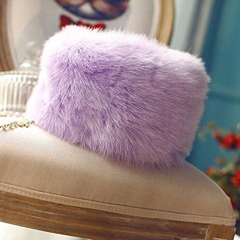 ZYONG*Las mujeres Faux Fur Hat estilo ruso Gorro de invierno desgaste del cabezal púrpura Tapa de
