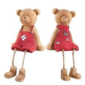Set di due carino mensola bordo seduto orso di Natale con decorazioni rosso maglioni