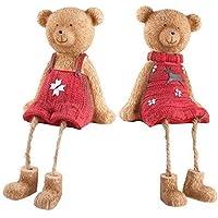 Set di 2Cute Mensola bordo Seduto Orso di Natale con decorazioni rosso maglioni