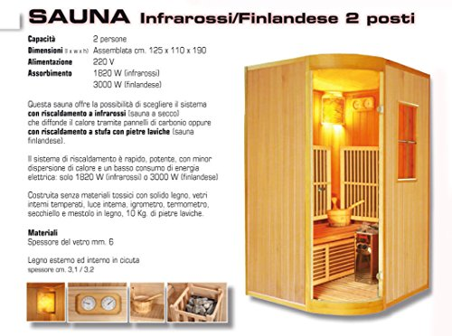 Sauna Finlandese Infrarossi 2 Posti High Muster HPHMSAUNAFIN