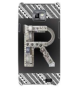 """ColourCraft Alphabet """"R"""" Design Back Case Cover for SAMSUNG GALAXY S2 I9100"""