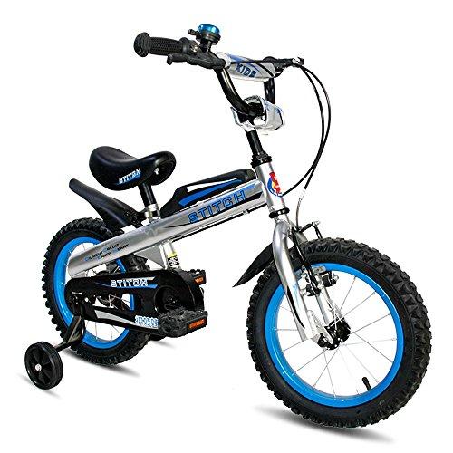 MAZHONGK Inderfahrräder Royal Baby Tasten Frei Style BMX Kids Bikes 12,14,16 Zoll mit Schweren Abnehmbaren STABILISATOREN. in Vielen Größen (Farbe : Blau, Größe : 14Inch)