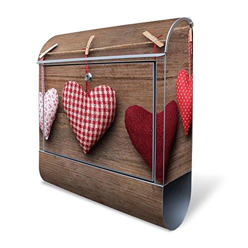 BANJADO Design Briefkasten mit Zeitungsfach, 2 Schlüssel, A4 Einwurf, silber pulverbeschichtet, mit Motiv Herzen