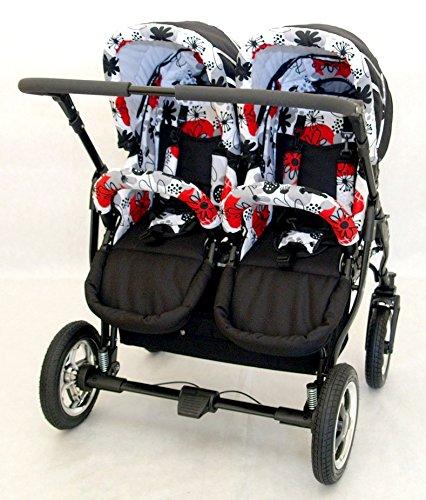 Poussette double pour jumeaux ou enfants d 39 ges diff rents un landau 2 chaises accessoires - Porte bebe double pour jumeaux ...