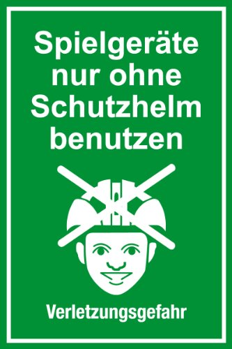 """Spielplatzschild \""""Spielgeräte nur ohne Schutzhelm benutzen\"""" aus Aluminium - in verschiedenen Größen erhältlich"""