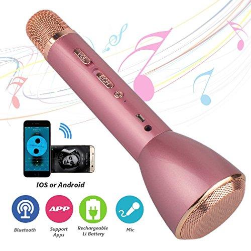 Microfono e altoparlante senza fili portatile, karaoke K088 Bluetooth 4.1 con microfono wireless per Smule Sing, Youtube, iPhone Smartphone Android e PC - rosa