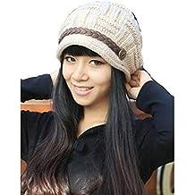 Nuevas mujeres Baggy Boina Chunky Knit de punto trenzado gorro de lana esquí Cap