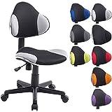CLP Silla de oficina BASTIAN, silla regulable en altura entre 39 - 51 cm, asiento giratorio 360°, sin reposabrazos, diseño moderno, carga máxima posible: 100 kg negro/blanco