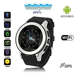 Waterproof (IP67) Android 4.4 Ultra-SmartWatch (Silver Metal Case, Black Strap) : SmartWatch with Quad-Band GSM Bluetooth Cell Phone, WI-FI, Built-In GPS, Music and Video Multimedia Player, 5.0M Camera, etc (Includes 32GB Installed Flash)