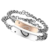Flongo 2 Stück Partnerarmbänder Armband Edelstahl Armreif Armkette With Wish Love and Happiness Gravur Herz Link Handgelenk Zirkon Zirkonia Silber Rose Gold Schwarz Panzerkette Kette Herren,Damen