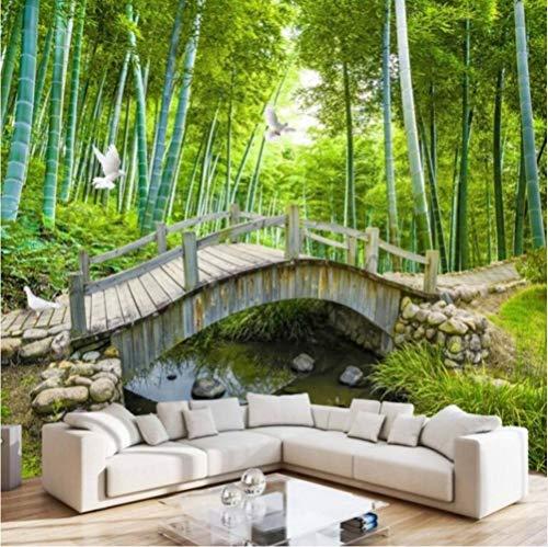 Bambus-brücke (Ponana Benutzerdefinierte Brücken Bambus 3 D Schmuck Schlafzimmer Wohnzimmer Tv-Einstellung Wandbilder Tapete-280X200Cm)