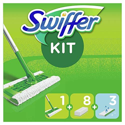 Swiffer Balai Attrape-Poussière Kit De Démarrage Avec 1Lingette, 8Lingettes Sèches Et 3Lingettes Humides