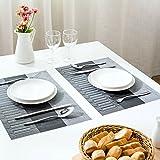 Famibay PVC Platzsets Bambus Stoff Tischsets Waschbar 4er Set Rutschfest Platzdeckchen Kunststoff Tischmatten - 7