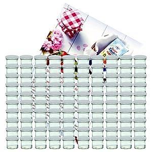 MamboCat 100er Set Sturzglas 125 ml Marmeladenglas Einmachglas Einweckglas to 66 weißer Deckel incl. Diamant-Zucker Gelierzauber Rezeptheft