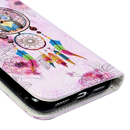 Badalink Hülle für iPhone X Gemalt Muster Handyhülle Leder PU Case Cover Magnet Flip Case Schutzhülle Kartensteckplätzen und Ständer Handytasche mit Eingabestifte und Staubschutz Stecker Eule