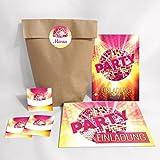 8-er Set Einladungskarten, Umschläge, Tüten, Aufkleber zum Geburtstag für Kinder Erwachsene / Disco-Kugel / Einladungen