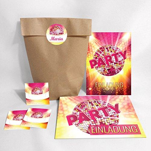 JuNa-Experten 8-er Set Einladungskarten, Umschläge, Tüten, Aufkleber zum Geburtstag für Kinder Erwachsene / Disco-Kugel / Einladungen