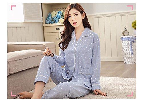 Naughtyspicy pigiama da donna / completo di minache e pantaloni lunghi Blu / Piccolo gatto bianco
