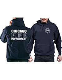 CHICAGO dEPT. fIRE à capuche en bleu marine avec standard-logo et emblème