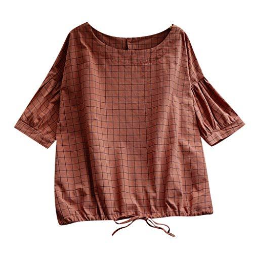 Zegeey Damen T-Shirt Bluse Vintage Rundhals Baumwolle Und Leinen Sommer LäSsige Knopfleiste Solide Tunika Pullover Oberteil Tops Shirts (B3-Khaki,EU-40/CN-L)