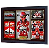 SGH SERVICES Gerahmter Foto-Druck, Michael Schumacher-Weltmeister Mercedes Autogramm, Formel 1, gerahmt, MDF-Rahmen