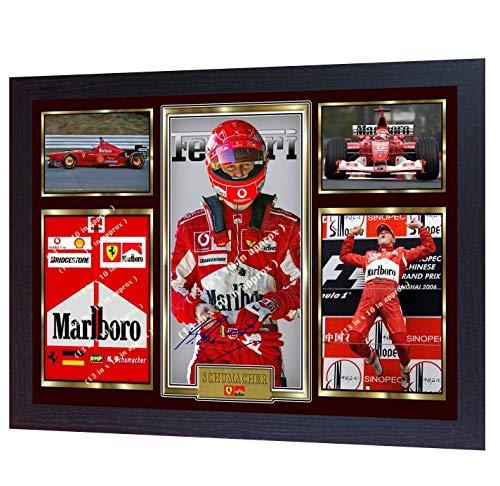 SGH SERVICES Gerahmter Foto-Druck, Michael Schumacher-Weltmeister Mercedes Autogramm, Formel 1, gerahmt, MDF-Rahmen -