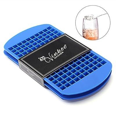 """Vinkoe Mini moule à glaçons [Paquet de 2] - 3/8"""" 160 Congelés Mini Cubes 100% Silicone de qualité alimentaire Plateaux à glaçons - Keep Cool pour les heures - Bleu Marine"""