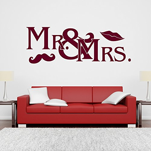 eDesign24 Wandtattoo Mr and Mrs Ehepaar Hochzeit Bart Mund Hipster Wanddesign Wanddekoration Tattoo Design Dekoration ca. 80 x 28 cm dunkelrot
