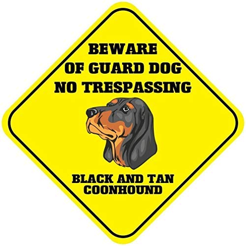 Shimeier Black And Tan Coonhound Beware Guard Dog No Trespassing Crossing Retro Vintage Tin Sign Coffee House Business…