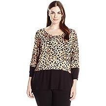 Calvin Klein - Camiseta para Mujer (Talla Grande), diseño de muñeca