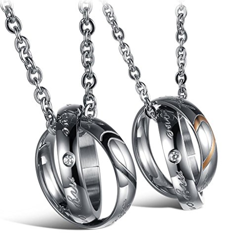 *Jewow Schmuck Edelstahl Verliebte Paar Halskette Doppelt Ring Anhänger mit Gravur für Sie und Ihn*