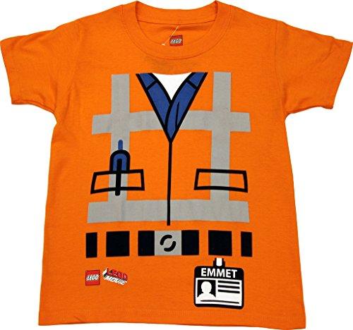 Lego Movie Emmet Orange Kostüm T-Hemd (Jungen (Kostüm Lego Emmet)