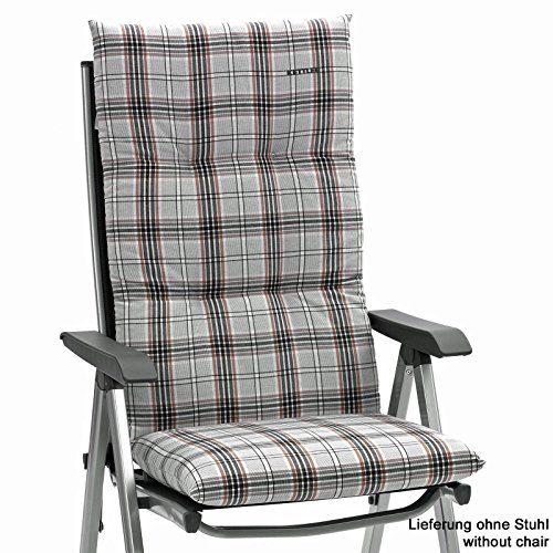 Kettler Auflagen Dessin 722 fuer Hochlehner 120 x 48 cm in grau 8 cm dick (ohne Stuhl)