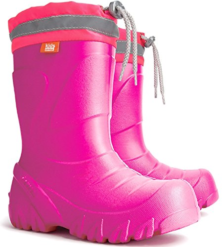 Kids Girls Pink Wellington Boots Rainy Snow Wellies Ultra Light EVA Warm Liners